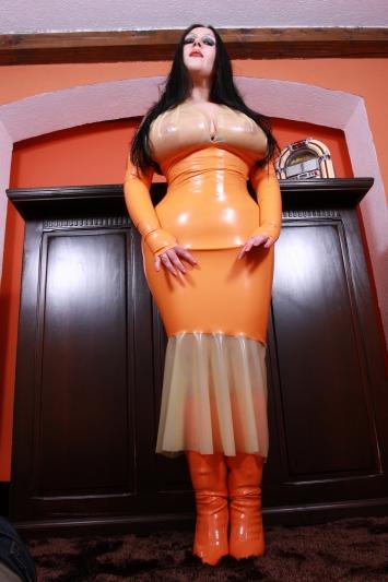 Latex Kleid Orange Lounge