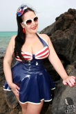 Latex Top Retro Sailor